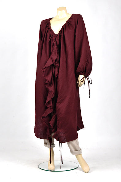 Amano flounce dress in merlot