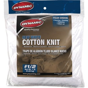 Dynamic 99774 #1/2 8 oz. Bag New White Rag ( 24 case)