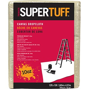 Trimaco 51123 12' x 15' 10 oz. Super Tuff Canvas Drop Cloth