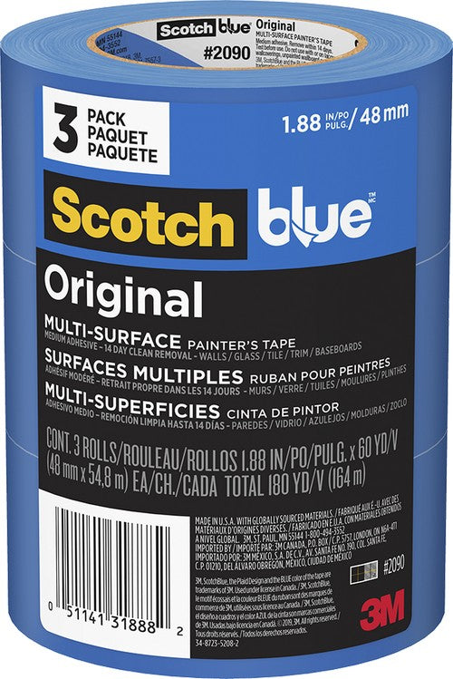 3M 2090-48EVP 48mm x 55m Blue Multi Surface Masking Tape 3Pk