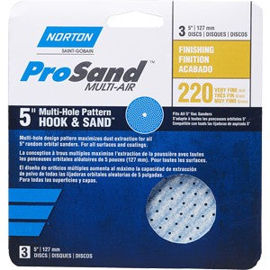 "Norton 03227 P220B Grit 5"" ProSand Multi Air Disc 3Pk"