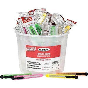 Hyde 49696 9mm 13Pt Assorted Colors Snap Off Knife Bucket 50Pk