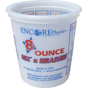 Encore 30008 8 oz. Clear Mix N Measure Container Plus Ratios