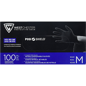 West Chester 2920 5mil Black Nitrile Disposable Glove Powder Free 100Pk