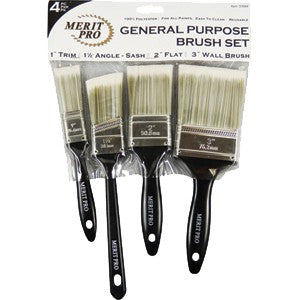 Merit Pro 00684 4 Piece General Purpose Polyester Brush Set