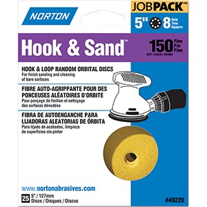 "Norton 49220 5"" P150 8 Hole Hook & Loop Disc (25 PACK)"