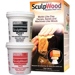 System Three 1600K16 Qt Kit Sculpwood Putty Two Part Epoxy 16 oz. Resin & 16 oz.
