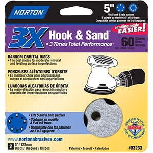 "Norton 03233 5"" P60 Prosand Hook & Sand Multi-Hole Pattern (2PACK)"