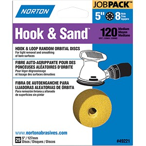 "Norton 49221 5"" P120 8 Hole Hook & Loop Disc (25 PACK)"