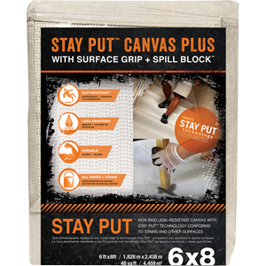 Trimaco 04329 6' x 8' Stay Put Canvas w/ Anti-Slip Barrier + Spill Block Drop Cloth