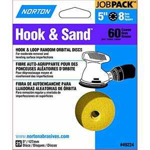 "Norton 49224 5"" P60 8 Hole Hook & Loop Disc (25 PACK)"