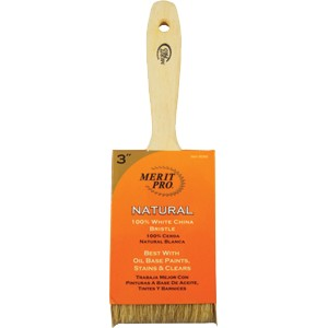 Merit Pro 100% White Bristle Beavertail Handle Brush