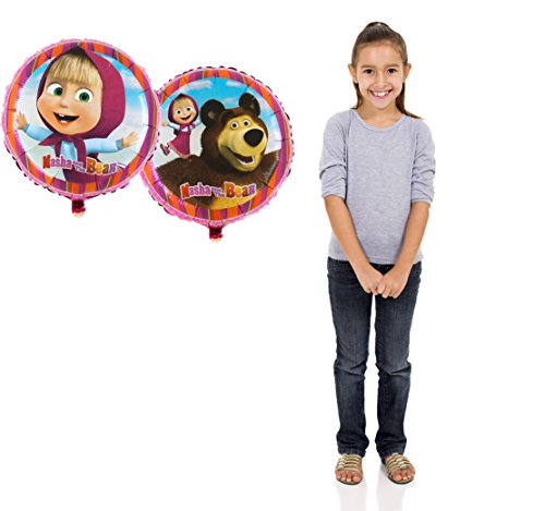Two-side Balloon with Masha Ø 18 inch (45cm) from the Popular Cartoon Masha and the Bear Party Supplies Masha y el Oso