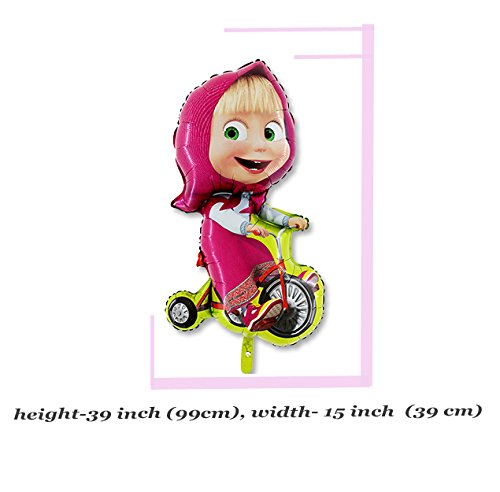 Balloon with Masha on a Bicycle 39 inch from the Popular Cartoon Masha and the Bear Party Supplies Super Shape Masha y el Oso