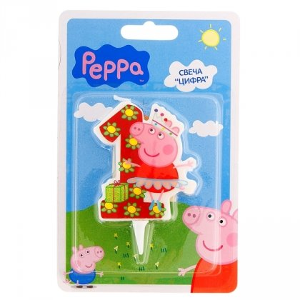 Cake Cupcake Topper Candle 1 Year Peppa Pig Baking Dessert Decorations Happy Birthday Holiday Anniversary Jubilee Party Supply