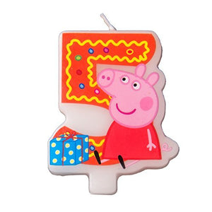 Cake Cupcake Topper Candle 5 Years Peppa Pig Baking Dessert Decorations Happy Birthday Holiday Anniversary Jubilee Party Supply for Kids Baby
