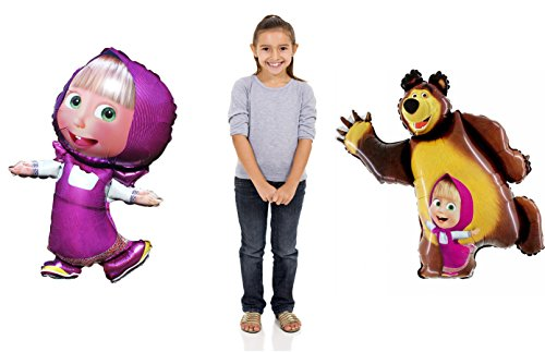 Bright Set of Two Balloons Masha and the Bear, Must Have Accessory for Party Supplies and Birthday Globos Masha y el Oso