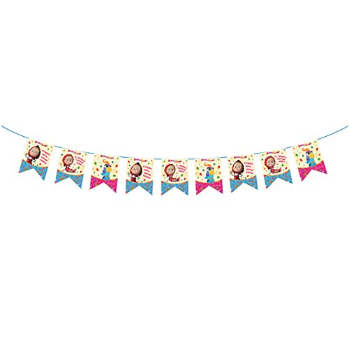 Garland 9,84 ft. Masha and the Bear  Good Idea for a Birthday Party Supplies Flag Decoration for the Holiday Masha y el Oso para niños