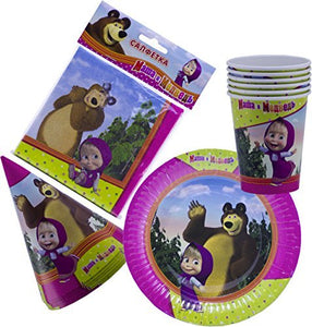Bright Holiday Set for Children Masha and the Bear Tableware Colored Napkins Paper Plates Funny Hats Drinking Glasses Masha y el Oso