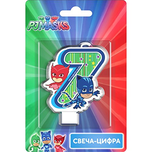 PJMASKS Сandle on a Cake Topper 7 Years Must Have Accessories for the Party Supplies and Birthday Catboy Owlette