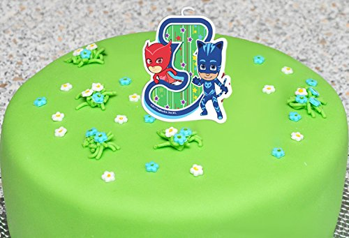 Сandle on a Cake Topper 3 Years PJ MASKS Owlette Catboy Must Have Accessories for the Party Supplies and Birthday