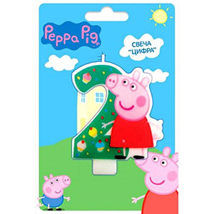 Cake Cupcake Topper Candle 2 Years Peppa Pig Baking Dessert Decorations Happy Birthday Holiday Anniversary Jubilee Party Supply for Kids Baby