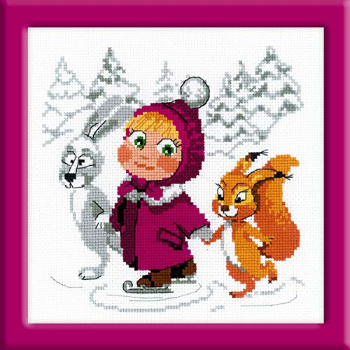 Riolis Counted Cross Stitch Kit: Embroidery Masha and The Bear Winter Theme 7x7 inch Masha y el OSO