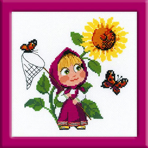 Riolis Counted Cross Stitch Kit:Embroidery Masha and The Bear The First Meeting 7x7 inch Masha y el OSO