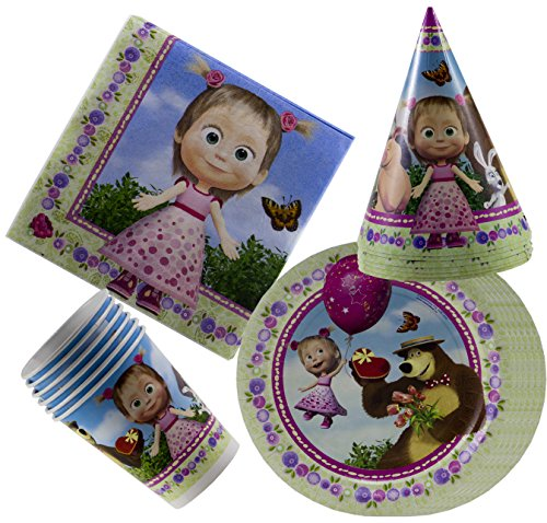 Holiday Set for Children Masha and the Bear Must Have for Party Supplies and Birthday Napkins Paper Plates Funny Hats Drinking Glasses Masha y el Oso
