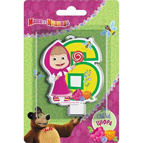 Сandle on a Cake Topper 6 Years Masha and the Bear Must Have Accessories for the Party supplies and Birthday Masha y el Oso para niños