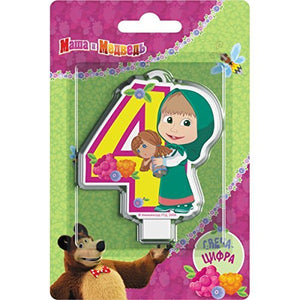 Сandle on a Cake Topper 4 Years Masha and the Bear Must Have Accessories for the Party supplies and Birthday Masha y el Oso para niños