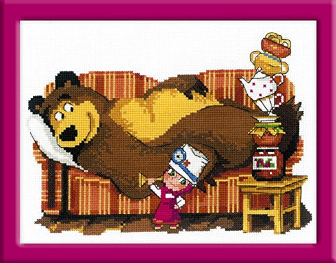 "Riolis Counted Cross Stitch Kit: Masha and The Bear""Bless You"" 9.5x7 inch Masha y el OSO"