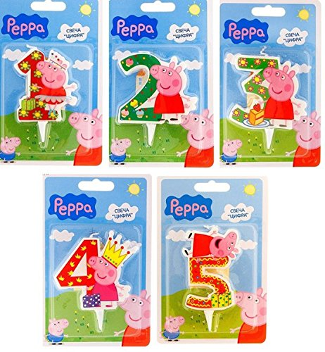 Peppa_pig Birthday Party Supplies Cake Topper Molded Colored Number 3 Candle Holiday Baking Dessert Cupcake Decorating Idea for Celebration