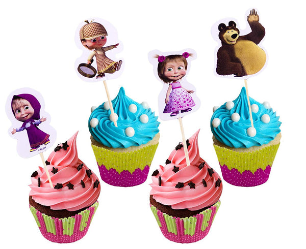 Set of Bright Printed Backing Cups 24 pcs and 24 Picks Topper Food Decoration Masha and the Bear for Cakes Cupcakes Muffins for the Party and Birthday