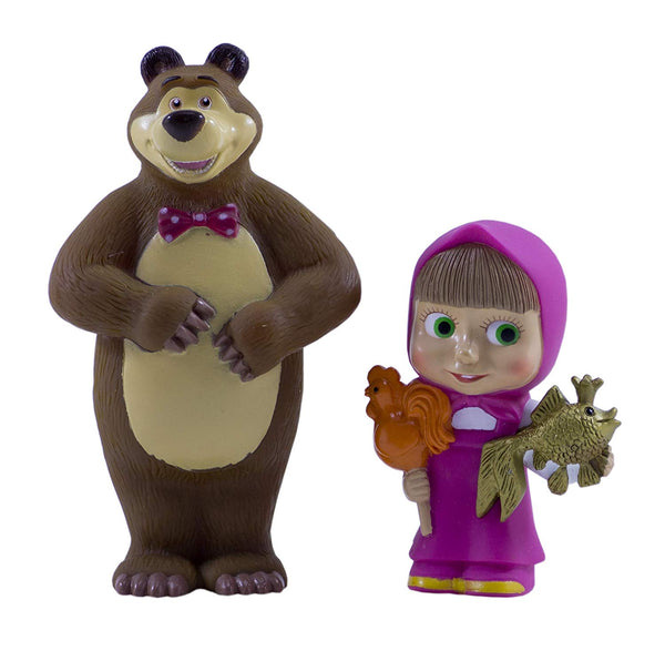 Set of characters from the cartoon Masha and the Bear Rubber Squeaking Bath Toys Masha Bear Masha y el Oso