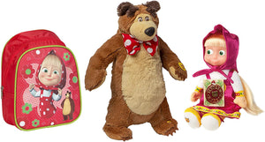 Masha and the Bear Kids Set Plush Giggle Bear Funny Doll Masha Soft Toy Speaks English 5 Phrases and 2 Song Colorful Backpack Masha y el Oso