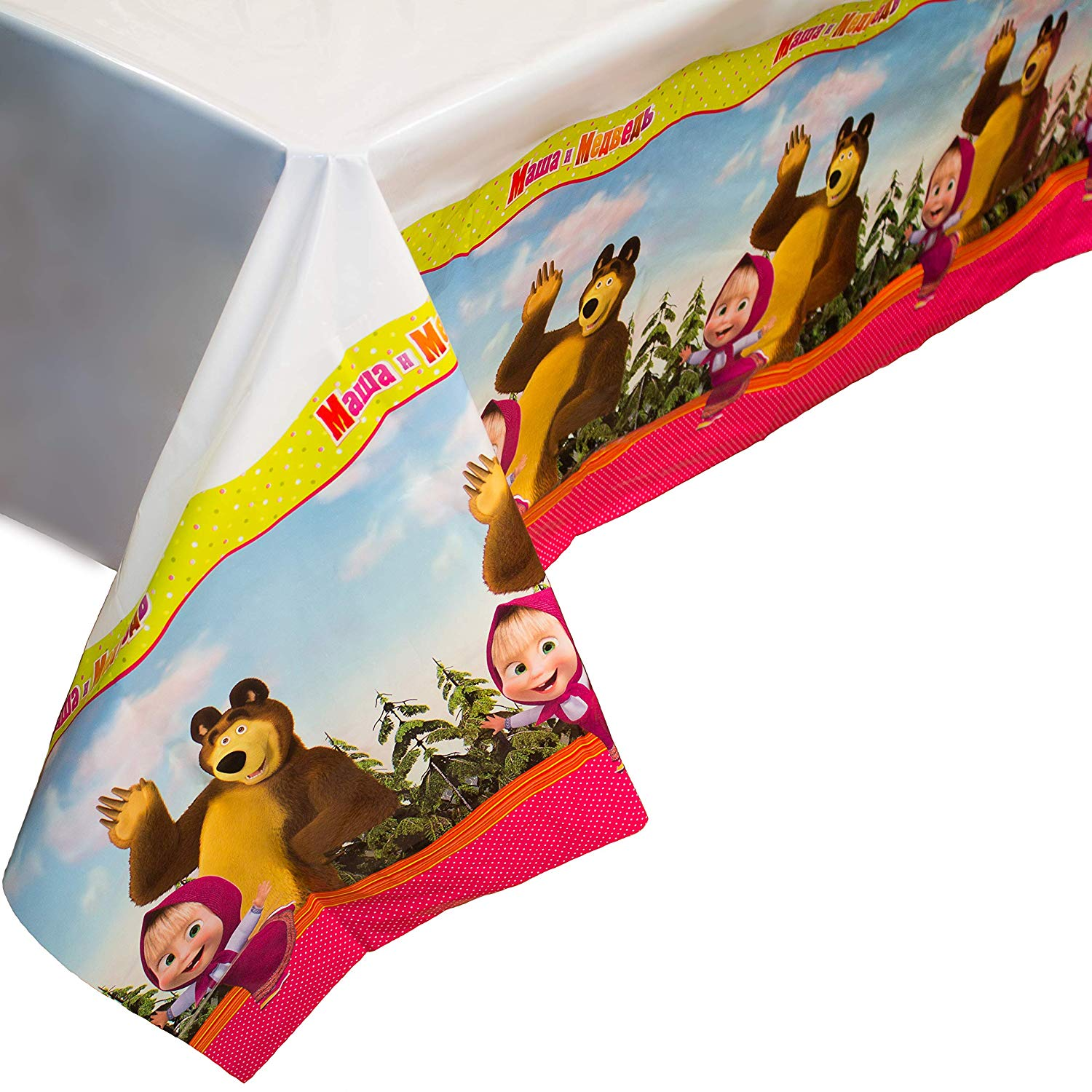 Bright Tablecloth Masha and the Bear for Kids Birthday Party Supplies with Favorite Characters