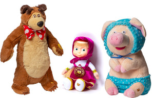 Funny kids set of toys Masha and the Bear and their friend Pig Doll Masha Speaking English party supplies Masha y el Oso para ninos