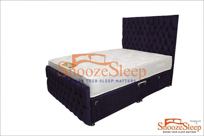 SnoozeSleep Divan Base 3ft / Diamond Buttons Divan Style Sleigh Bed Frame
