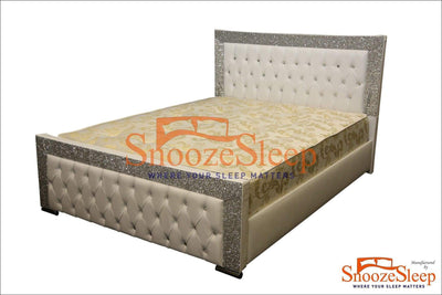 SnoozeSleep Glitter Bed 3ft / Diamond Buttons Glitter Sleigh Bed Frame