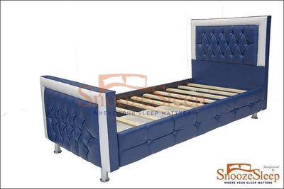 "SnoozeSleep Sleigh Bed 2ft 6"" / Diamond Buttons Blue Sleigh Bed – Leather Faux"