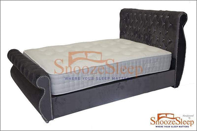 SnoozeSleep Sleigh Bed 3ft / Diamond Buttons Swan Sleigh Bed Frame