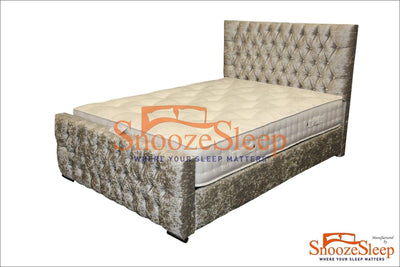 SnoozeSleep Sleigh Bed 3ft / Diamond Buttons Tennessee Sleigh Bed Frame