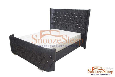 "SnoozeSleep Sleigh Bed 4ft 6"" / Diamond Buttons Imperial Sleigh Bed Frame"