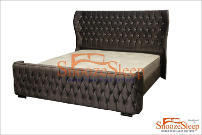 SnoozeSleep Sleigh Bed 4ft / Diamond Buttons Elegance Sleigh Bed Frame