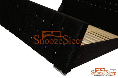 SnoozeSleep Sleigh Bed 3ft / Diamond Buttons Oxford Sleigh Bed Frame