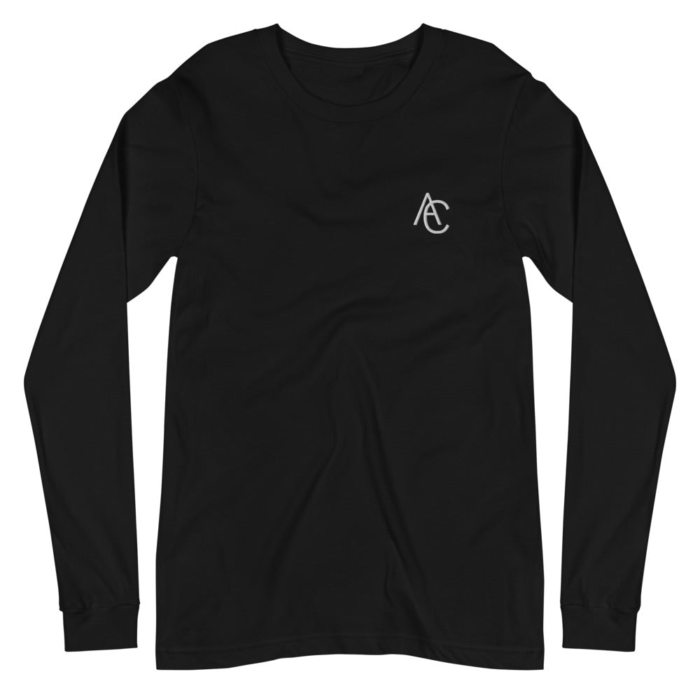 Acroze Embroidery Men's Long-sleeve T-shirt (Black)