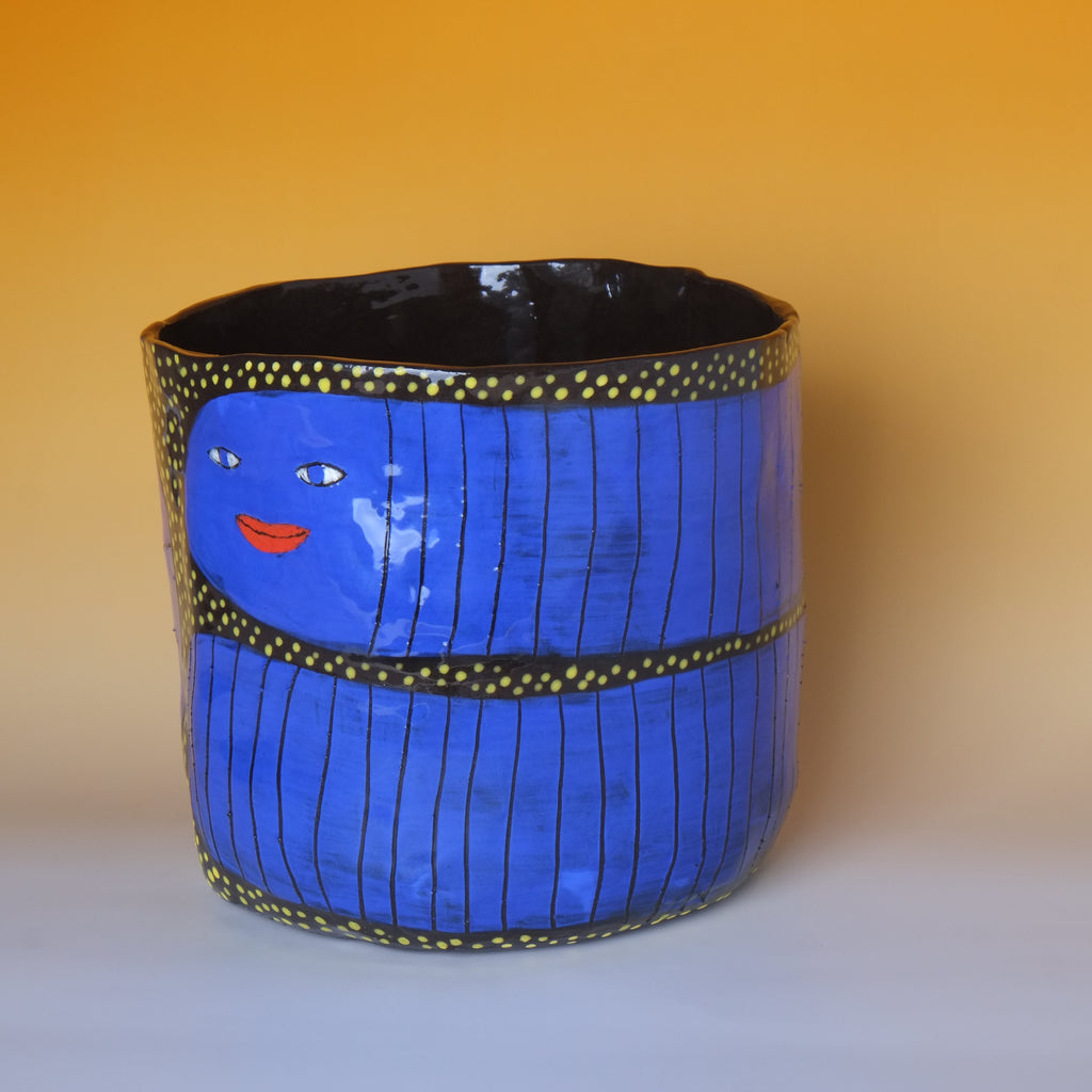 Blue Worm Plant pot