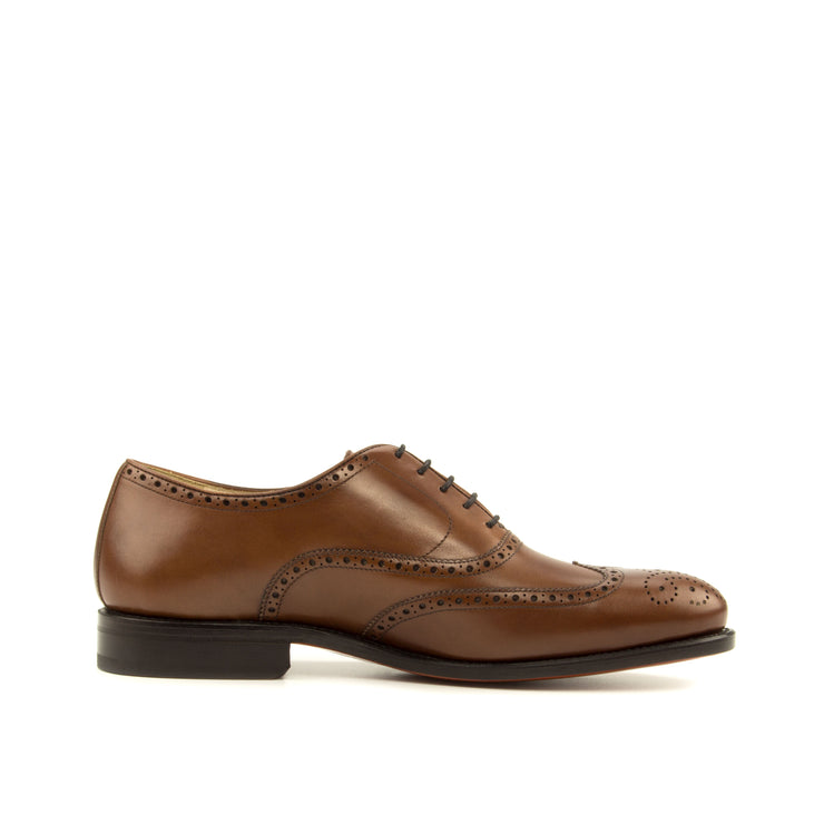Medium Brown Italian Boxcalf leather on a handmade Brogue made in Almansa, Spain