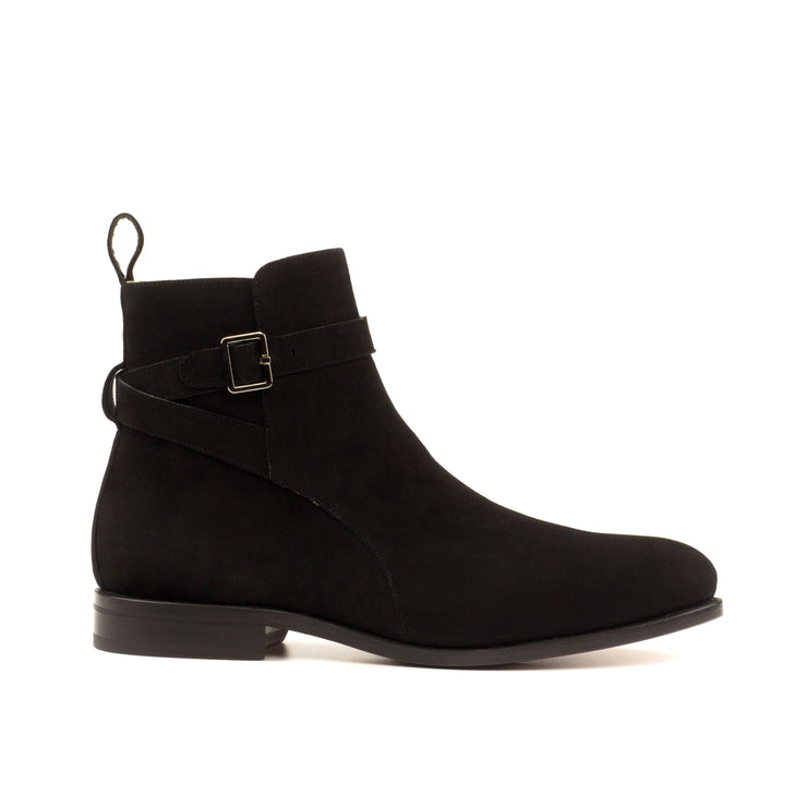 All Black Italian Suede Jodhpur Boot, Made in Europe